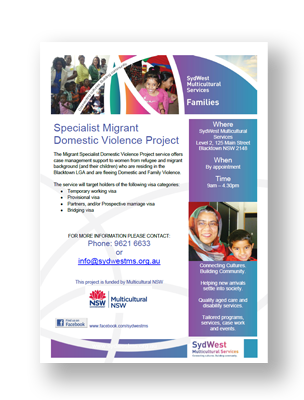 Specialist Migrant Domestic Violence Project Flyer