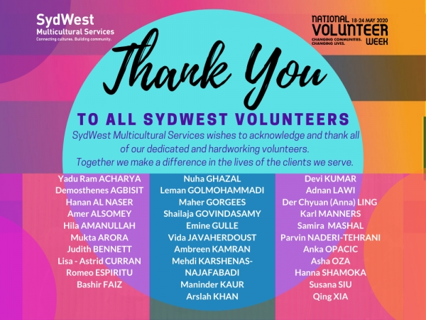 SydWest Thanks Our Volunteers